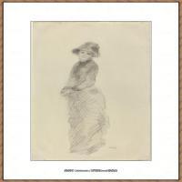 皮埃尔奥古斯特雷诺阿Pierre Auguste Renoir法国印象派重要画家雷诺阿印象派素描作品集Young Wom