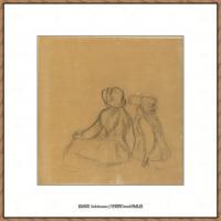 皮埃尔奥古斯特雷诺阿Pierre Auguste Renoir法国印象派重要画家雷诺阿印象派素描作品集 Girlhood
