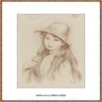 皮埃尔奥古斯特雷诺阿Pierre Auguste Renoir法国印象派重要画家雷诺阿印象派素描作品集JEUNE FIL
