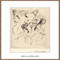 皮埃尔奥古斯特雷诺阿Pierre Auguste Renoir法国印象派重要画家雷诺阿印象派素描作品集 The Hat