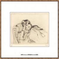 贝尔特莫里索Berthe Morisot法国印象派女画家绘画作品集素描手绘手稿底稿高清图片 (24)