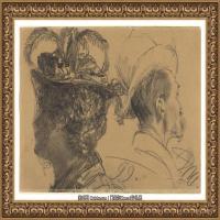 阿道夫门采尔Adolf Menzel德国著名油画家版画家插图画家绘画作品集素描手稿底稿经典作品图片 (26)