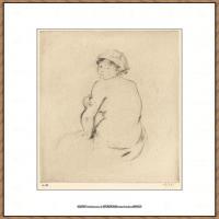 贝尔特莫里索Berthe Morisot法国印象派女画家绘画作品集素描手绘手稿底稿高清图片 (21)