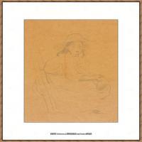 贝尔特莫里索Berthe Morisot法国印象派女画家绘画作品集素描手绘手稿底稿高清图片 (12)