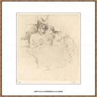 贝尔特莫里索Berthe Morisot法国印象派女画家绘画作品集素描手绘手稿底稿高清图片 (23)