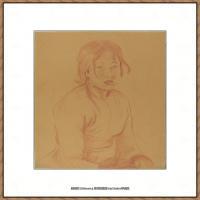 贝尔特莫里索Berthe Morisot法国印象派女画家绘画作品集素描手绘手稿底稿高清图片 (3)