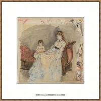 贝尔特莫里索Berthe Morisot法国印象派女画家绘画作品高清图片莫里索油画作品高清图片 (5)