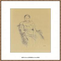 贝尔特莫里索Berthe Morisot法国印象派女画家绘画作品集素描手绘手稿底稿高清图片 (13)