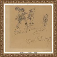 阿道夫门采尔Adolf Menzel德国著名油画家版画家插图画家绘画作品集素描手稿底稿经典作品图片 (5)