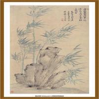 恽寿平-竹石图 纸本  62X133cm