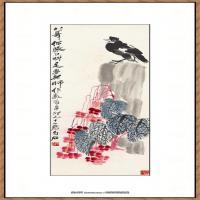近现代齐白石-海棠纸本