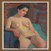 潘玉良-持黑色掸子的裸女-
