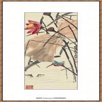 齐白石-荷花翠鸟纸本35