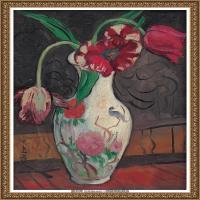 潘玉良-粉彩瓷瓶和郁金香