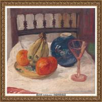 潘玉良-灯笼桔、香蕉和高脚杯