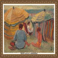 潘玉良-海滨的遮阳伞
