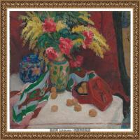 潘玉良-红漆盒与珐琅彩瓶花-