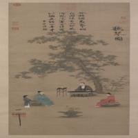 赵佶听琴图轴-北宋-人物