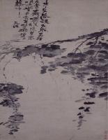 徐渭水墨葡萄图轴-明朝-花鸟