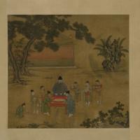 朱瞻基斗鹌鹑图轴-明朝-人物