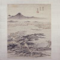 赵左山水图轴(望山垂钓)-明朝-山水