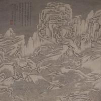 萧云从雪岳读书图轴-明朝-山水
