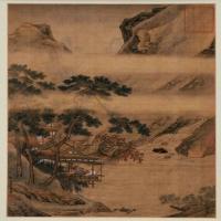仇英临溪水阁图页-明朝-山水