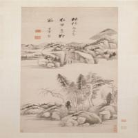 董其昌林杪水步图轴-明朝-山水