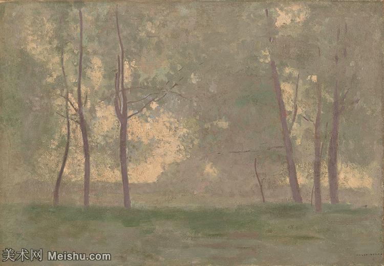 【打印級】YHR131327075-奧迪龍<a href=http://www.njupvg.live/baike/2/1/2388.html target=_blank class=infotextkey>雷東</a>油畫作品高清圖片Odilon Redon Landscape-40M-45
