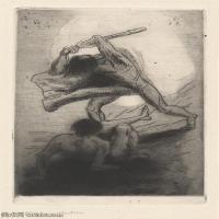 【欣赏级】SMR4151558037-法国画家象征主义画派奥迪龙雷东素描作品高清图片Odilon Redon FightoftheCentaurs-16M-1977X3000