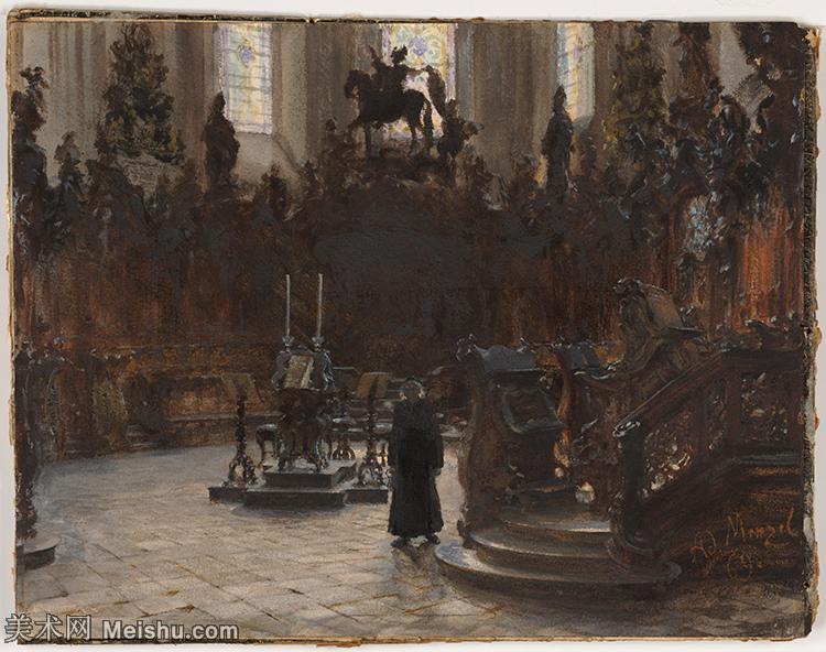 【打印级】YHR19095930-阿道夫门采尔Adolf Menzel德国著名油画家版画家插图画家绘画作品集西方绘画大师