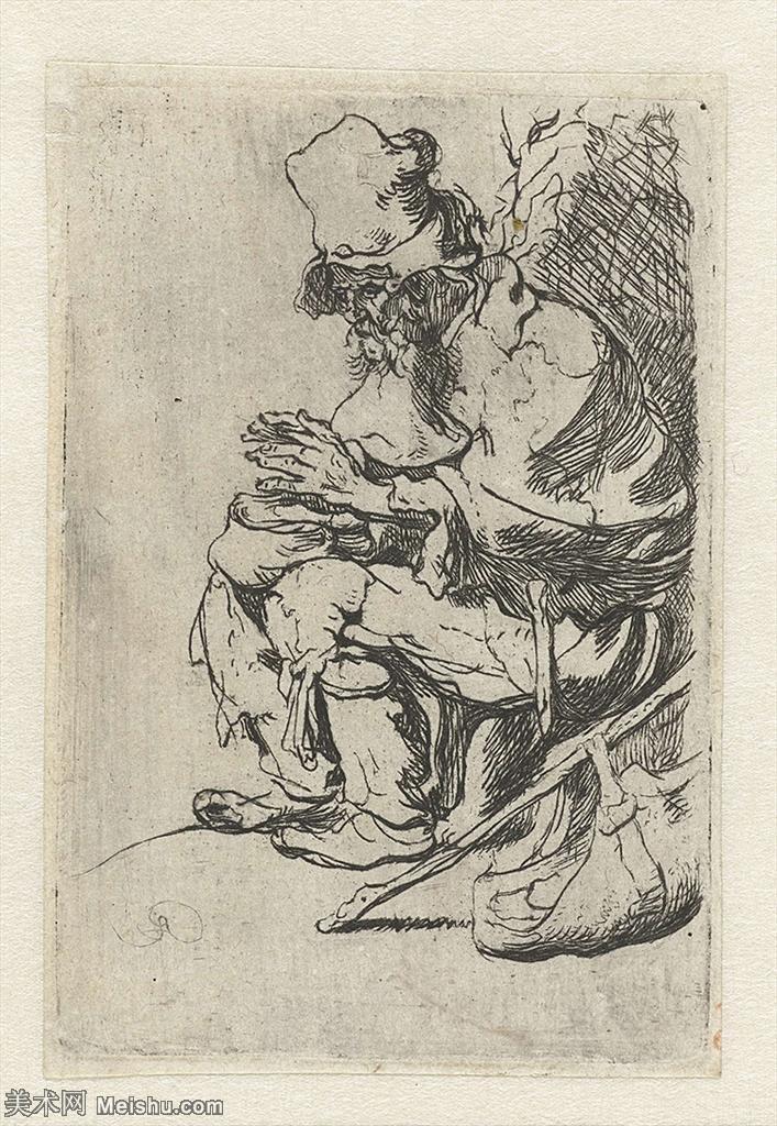 【打印级】SMR131517449-伦勃朗Rembrand素描线稿原作作品高清大图伦勃朗自画像伦勃朗的速写手稿作品伦勃朗