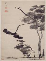 朱耷荷石水鸟图轴-清朝-花鸟
