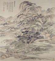 恽寿平高岩乔木图轴-清朝-山水-中国清朝山水画赏析