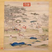 郎世宁弘历观画图轴-清朝-人物-中国古代人物故事画作