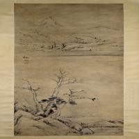 朱耷秋林独钓图轴-清朝-山水-中国古代山水绘画作品