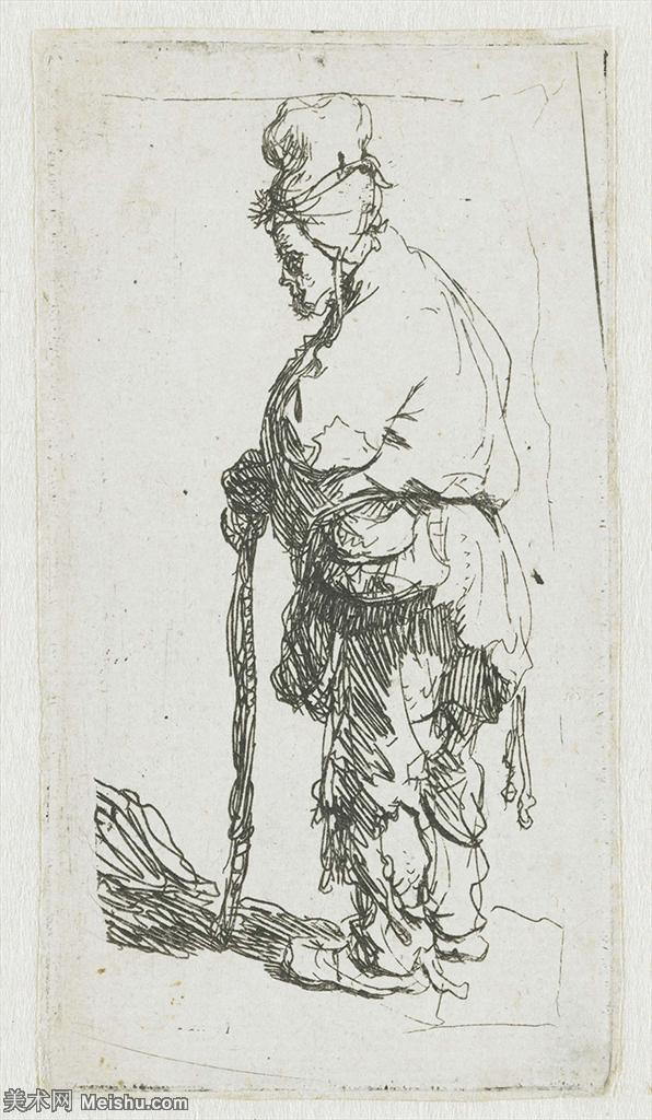 【欣赏级】SMR131517372-伦勃朗Rembrand素描线稿原作作品高清大图伦勃朗自画像伦勃朗的速写手稿作品伦勃朗
