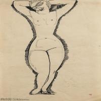 【欣赏级】YHR19083717-阿梅代奥莫迪利亚尼Amedeo Modigliani意大利著名画家绘画作品集手稿素描作品高清图片NU DE FACE, BRAS LEVéS-8M-1352X2205