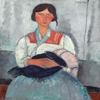 【打印级】YHR19083854-阿梅代奥莫迪利亚尼Amedeo Modigliani意大利著名画家绘画作品集油画作品高清图片Gypsy Woman with Baby-21M-2179X3473