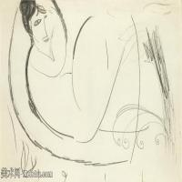 【欣赏级】YHR19083702-阿梅代奥莫迪利亚尼Amedeo Modigliani意大利著名画家绘画作品集手稿素描作品高清图片NU ALLONGé-6M-2000X1194