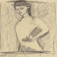 【欣赏级】YHR19083721-阿梅代奥莫迪利亚尼Amedeo Modigliani意大利著名画家绘画作品集手稿素描作品高清图片STUDY FOR THE AMAZON 3-9M-1556X2100