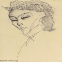 【欣赏级】YHR19083719-阿梅代奥莫迪利亚尼Amedeo Modigliani意大利著名画家绘画作品集手稿素描作品高清图片STUDY FOR THE AMAZON-9M-1516X2100