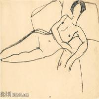 【欣赏级】YHR19083705-阿梅代奥莫迪利亚尼Amedeo Modigliani意大利著名画家绘画作品集手稿素描作品高清图片FEMME NUE eTENDUE SUR LE CoTe-7M-20