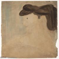 【打印级】YHR19083735-阿梅代奥莫迪利亚尼Amedeo Modigliani意大利著名画家绘画作品集手稿素描作品高清图片Woman in  Profile-32M-3158X3643