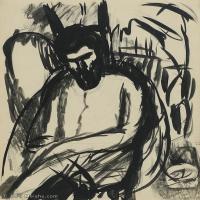 【欣赏级】YHR19083723-阿梅代奥莫迪利亚尼Amedeo Modigliani意大利著名画家绘画作品集手稿素描作品高清图片PORTRAIT DE BRANCUSI ASSIS-10M-1602