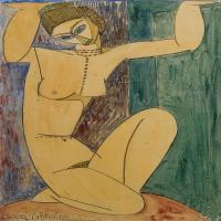 【欣赏级】YHR19083725-阿梅代奥莫迪利亚尼Amedeo Modigliani意大利著名画家绘画作品集手稿素描作品高清图片Cariatide-17M-1952X3189