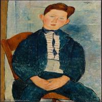 【打印级】YHR19083855-阿梅代奥莫迪利亚尼Amedeo Modigliani意大利著名画家绘画作品集油画作品高清图片Boy in a Striped Sweater-23M-2237X372