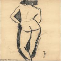 【欣赏级】YHR19083701-阿梅代奥莫迪利亚尼Amedeo Modigliani意大利著名画家绘画作品集手稿素描作品高清图片FEMME NUE DE DOS-6M-1226X1934