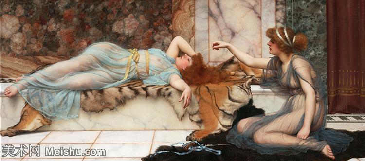 【打印级】YHR18111558-英国古典主义画家画家约翰威廉戈德沃德John William Godward古典人物美