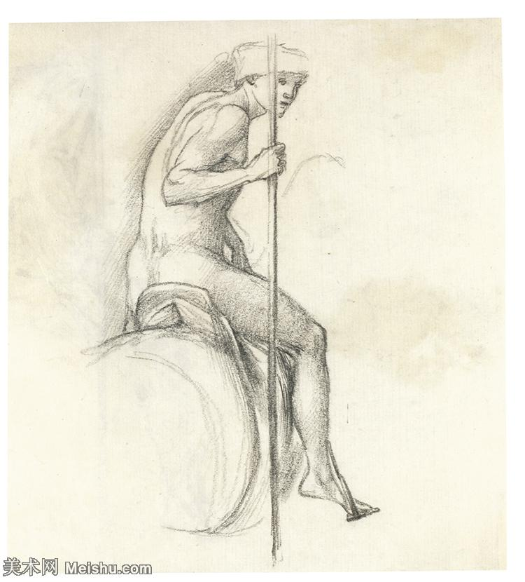 【欣赏级】SMR181321015-英国新拉斐尔前派画家插画家爱德华伯恩琼斯EdwardBurneJones素描速写手稿